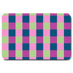 Pink Teal Lime Orchid Pattern Large Doormat