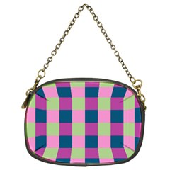 Pink Teal Lime Orchid Pattern Chain Purses (One Side)