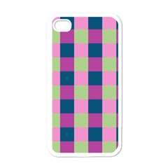 Pink Teal Lime Orchid Pattern Apple iPhone 4 Case (White)