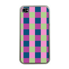 Pink Teal Lime Orchid Pattern Apple iPhone 4 Case (Clear)