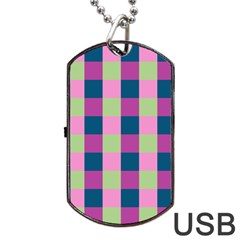 Pink Teal Lime Orchid Pattern Dog Tag USB Flash (One Side)