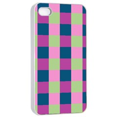 Pink Teal Lime Orchid Pattern Apple iPhone 4/4s Seamless Case (White)