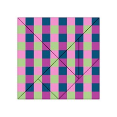 Pink Teal Lime Orchid Pattern Acrylic Tangram Puzzle (4  x 4 )