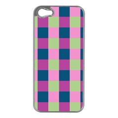 Pink Teal Lime Orchid Pattern Apple iPhone 5 Case (Silver)