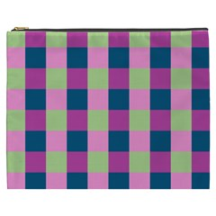 Pink Teal Lime Orchid Pattern Cosmetic Bag (XXXL)