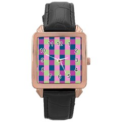 Pink Teal Lime Orchid Pattern Rose Gold Leather Watch