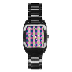Pink Teal Lime Orchid Pattern Stainless Steel Barrel Watch