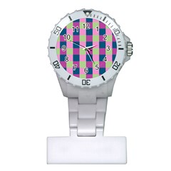 Pink Teal Lime Orchid Pattern Plastic Nurses Watch