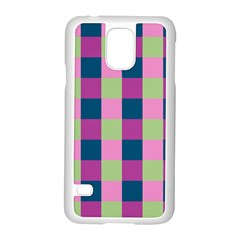 Pink Teal Lime Orchid Pattern Samsung Galaxy S5 Case (White)
