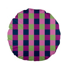 Pink Teal Lime Orchid Pattern Standard 15  Premium Flano Round Cushions