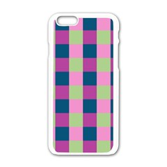Pink Teal Lime Orchid Pattern Apple iPhone 6/6S White Enamel Case
