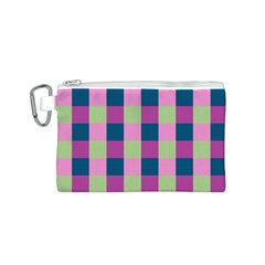 Pink Teal Lime Orchid Pattern Canvas Cosmetic Bag (S)
