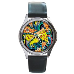 Pizza Pattern Round Metal Watch