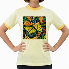 Pizza Pattern Women s Fitted Ringer T-Shirts