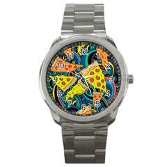Pizza Pattern Sport Metal Watch