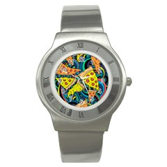 Pizza Pattern Stainless Steel Watch