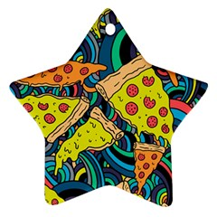 Pizza Pattern Star Ornament (Two Sides)
