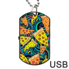 Pizza Pattern Dog Tag USB Flash (Two Sides)