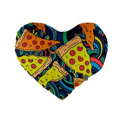 Pizza Pattern Standard 16  Premium Heart Shape Cushions