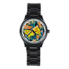 Pizza Pattern Stainless Steel Round Watch