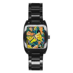 Pizza Pattern Stainless Steel Barrel Watch