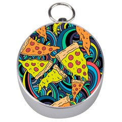 Pizza Pattern Silver Compasses