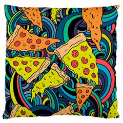 Pizza Pattern Large Flano Cushion Case (One Side)