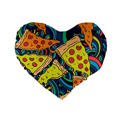Pizza Pattern Standard 16  Premium Flano Heart Shape Cushions