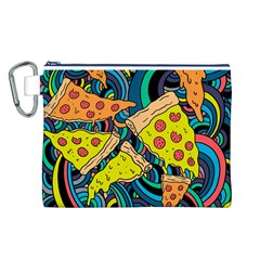 Pizza Pattern Canvas Cosmetic Bag (L)