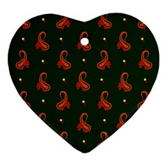 Paisley Pattern Heart Ornament (2 Sides)