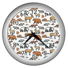 Wild Animal Pattern Cute Wild Animals Wall Clocks (Silver)