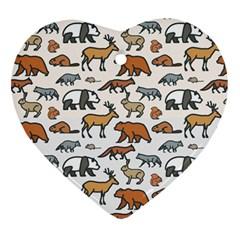 Wild Animal Pattern Cute Wild Animals Heart Ornament (2 Sides)
