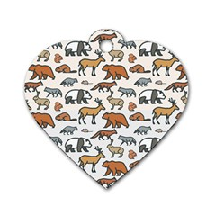 Wild Animal Pattern Cute Wild Animals Dog Tag Heart (Two Sides)