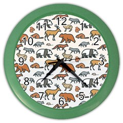 Wild Animal Pattern Cute Wild Animals Color Wall Clocks