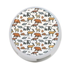 Wild Animal Pattern Cute Wild Animals 4-Port USB Hub (Two Sides)