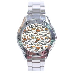 Wild Animal Pattern Cute Wild Animals Stainless Steel Analogue Watch