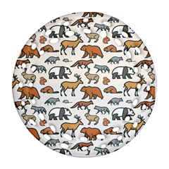 Wild Animal Pattern Cute Wild Animals Ornament (Round Filigree)