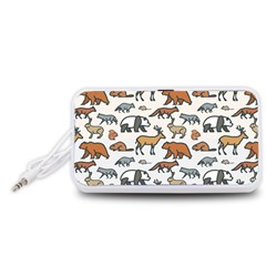 Wild Animal Pattern Cute Wild Animals Portable Speaker (White)