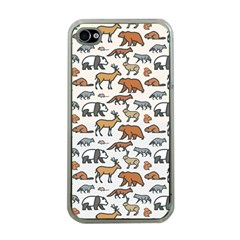 Wild Animal Pattern Cute Wild Animals Apple iPhone 4 Case (Clear)