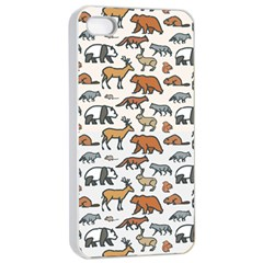 Wild Animal Pattern Cute Wild Animals Apple iPhone 4/4s Seamless Case (White)