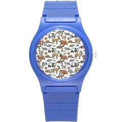Wild Animal Pattern Cute Wild Animals Round Plastic Sport Watch (S)