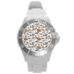 Wild Animal Pattern Cute Wild Animals Round Plastic Sport Watch (L)