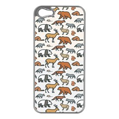 Wild Animal Pattern Cute Wild Animals Apple iPhone 5 Case (Silver)