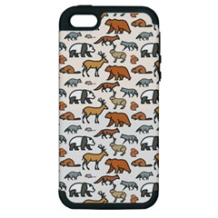Wild Animal Pattern Cute Wild Animals Apple iPhone 5 Hardshell Case (PC+Silicone)