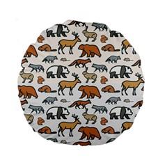 Wild Animal Pattern Cute Wild Animals Standard 15  Premium Round Cushions