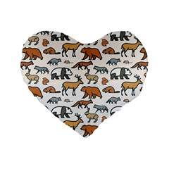 Wild Animal Pattern Cute Wild Animals Standard 16  Premium Heart Shape Cushions