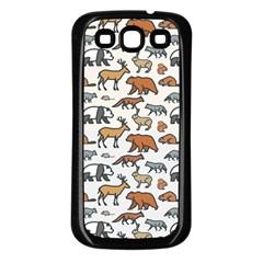 Wild Animal Pattern Cute Wild Animals Samsung Galaxy S3 Back Case (Black)