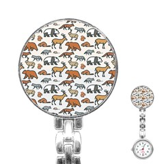 Wild Animal Pattern Cute Wild Animals Stainless Steel Nurses Watch