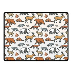 Wild Animal Pattern Cute Wild Animals Double Sided Fleece Blanket (Small)
