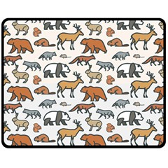 Wild Animal Pattern Cute Wild Animals Double Sided Fleece Blanket (Medium)
